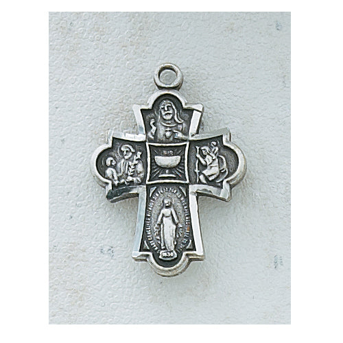 4-WAY MEDAL W/CHALICE-ANTIQUE SILVER - AN573BK - Catholic Book & Gift Store