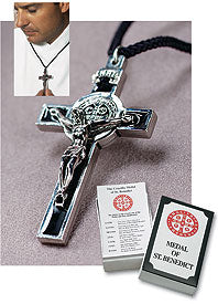 BENEDICTINE CRUCIFIX/BLACK ENAMEL - AS648 - Catholic Book & Gift Store