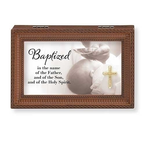 BAPTIZED...BROWN SMALL MUSIC BOX BAPTISM COLLECTION