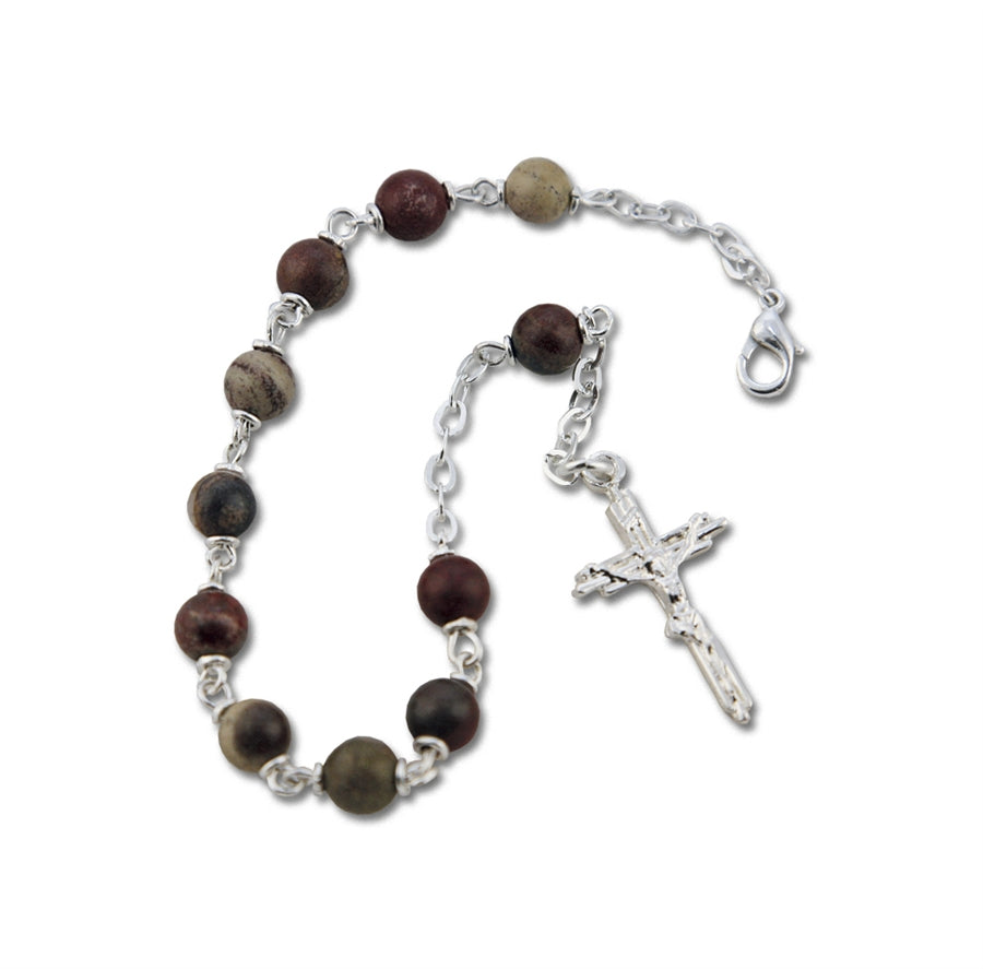 APPLE JASPER GEMSTONE SILVER TONED ROSARY BRACELET - BGBS005 - Catholic Book & Gift Store