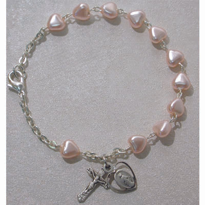 YOUTH PINK HEART ROSARY BRACELET - BR174M - Catholic Book & Gift Store