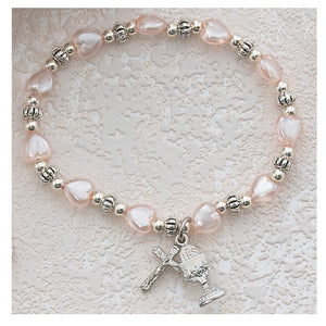 PINK HEART STRETCH BRACELET - BR276C - Catholic Book & Gift Store