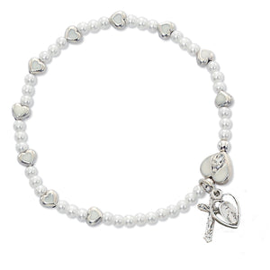 WHITE HEART & PEARL STRETCH BRACELET - BR405CM - Catholic Book & Gift Store