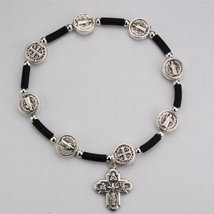 ST. BENEDICT BLACK RUBBER STRETCH BRACELET - BR409C - Catholic Book & Gift Store