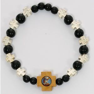 ST MICHAEL BLACK WOOD STRETCH BRACELET - BR425C - Catholic Book & Gift Store
