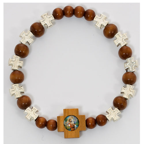 BROWN WOOD STRETCH BRACELET - BR426C - Catholic Book & Gift Store