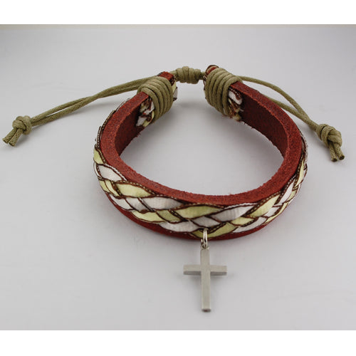 LEATHER BRACELET WITH GREEN RIBBON - BR556C - Catholic Book & Gift Store