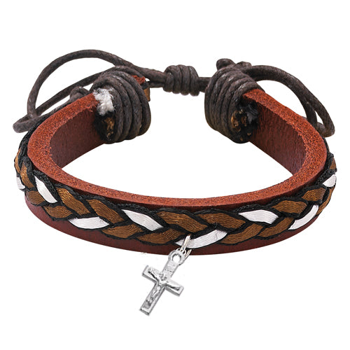 LEATHER BRACELET WITH BROWN RIBBON - BR557CFC - Catholic Book & Gift Store