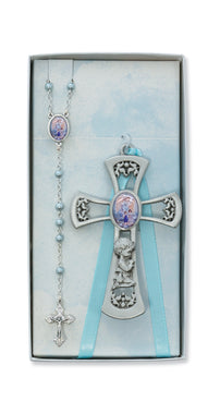 PEWTER PRAYING BOY CROSS WITH GUARDIAN ANGEL ROSARY SET