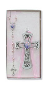 PEWTER PRAYING GIRL CROSS WITH GUARDIAN ANGEL