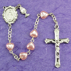 PINK HEART/COMMUNION ROSARY - C61RW - Catholic Book & Gift Store