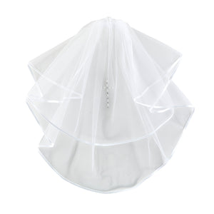Rose HeadBand W/ Pearl Cross First Communion Veil