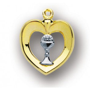 TU-TONE OPEN HEART W/INLAYED CHALICE - GS3718TT18 - Catholic Book & Gift Store