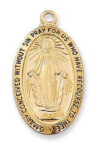 "GOLD/STERLING/MIRAC MED/18"" CH - J500MI - Catholic Book & Gift Store"