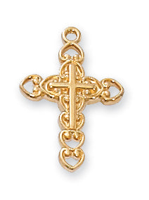 GOLD OVER STERLING SILVER CROSS - J8002 - Catholic Book & Gift Store