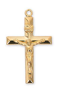 GOLD OVER STERLING SILVER CRUCIFIX - J8011 - Catholic Book & Gift Store