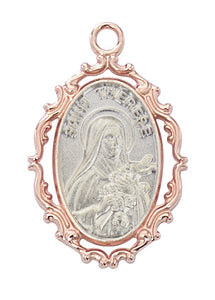 TWO-TONE ROSE GOLD/STERLING ST THERESE OF LISIEUX PENDANT