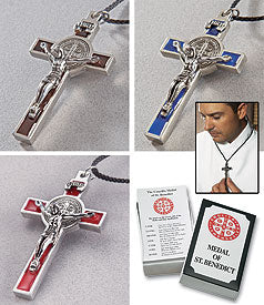 BENEDICTINE CRUCIFIX/RED ENAMEL ON CORD - KT013RED - Catholic Book & Gift Store