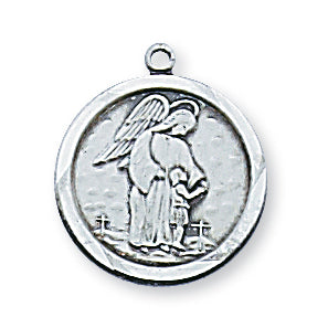 STERLING SILVER GUARDIAN ANGEL MEDAL - L1514GA - Catholic Book & Gift Store
