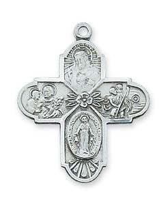 STERLING SILVER 4-WAY CROSS - L2210-4 - Catholic Book & Gift Store