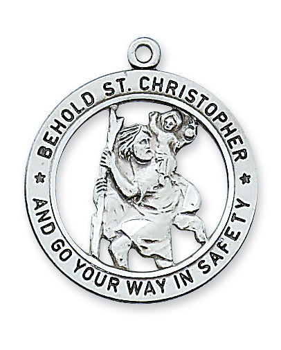 STERLING SILVER ST CHRISTOPHER MEDAL - L2514 - Catholic Book & Gift Store