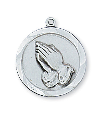 STERLING SILVER PRAYING HANDS PENDANT - L373 - Catholic Book & Gift Store