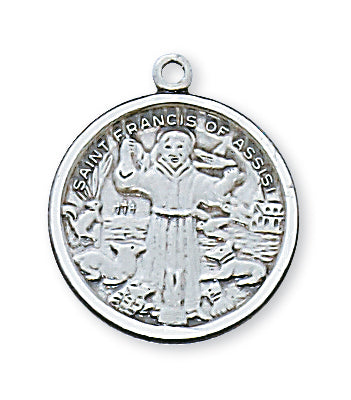 STERLING SILVER ST FRANCIS MEDAL - L415FR - Catholic Book & Gift Store