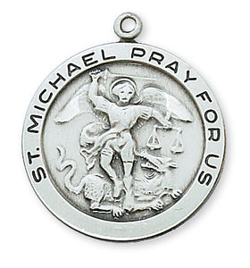 STERLING SILVER ST MICHAEL MEDAL - L420MK - Catholic Book & Gift Store