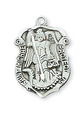 STERLING SILVER ST MICHAEL SHIELD - L425 - Catholic Book & Gift Store
