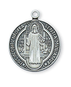 STERLING SILVER ST BENEDICT MEDAL - L434 - Catholic Book & Gift Store