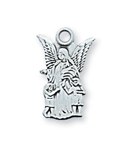 STERLING SILVER GUARDIAN ANGEL PENDANT - L465 - Catholic Book & Gift Store