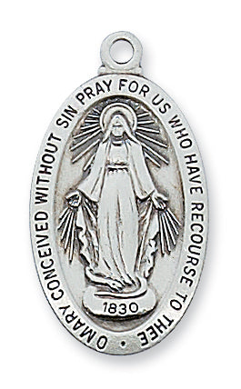 STERLING SILVER MIRACULOUS MEDAL - L500MI - Catholic Book & Gift Store