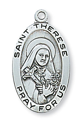 STERLING SILVER ST THERESE MEDAL - L500TF - Catholic Book & Gift Store