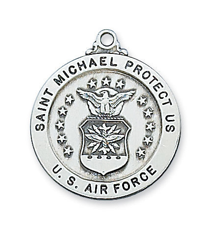 STERLING SILVER ROUND AIRFORCE W/ST MICHAEL PENDANT