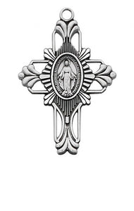 STERLING SILVER MIRACULOUS CROSS - L678 - Catholic Book & Gift Store
