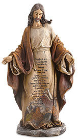 "12.75"" CHRIST W/LORD'S PRAYER - MT397 - Catholic Book & Gift Store"