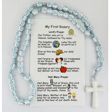 KID'S BLUE CROSS BEAD CORDED ROSARY