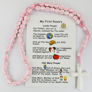 KID'S PINK CROSS BEAD CORDED ROSARY