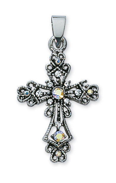RHINESTONE CROSS/STERLING PLATED - P50 - Catholic Book & Gift Store