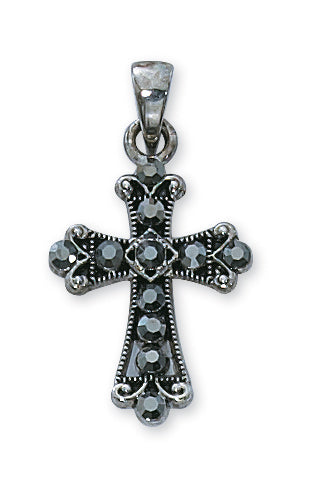 SM/BLACK CRYSTAL CROSS/STERLING PLATED - P51 - Catholic Book & Gift Store