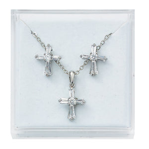 CRYSTAL CROSS PENDANT/EARRING SET - PES13W - Catholic Book & Gift Store