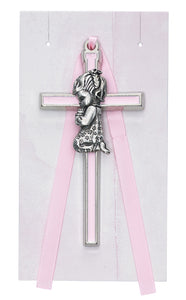 "3.5""H PINK CROSS WITH KNEELING GIRL CRIB MEDAL"