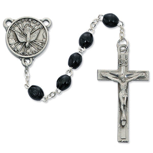 4X6 BLACK WOOD HOLY SPIRIT ROSARY - R447DF - Catholic Book & Gift Store