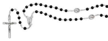 6MM BLACK GLASS COMMUNION ROSARY