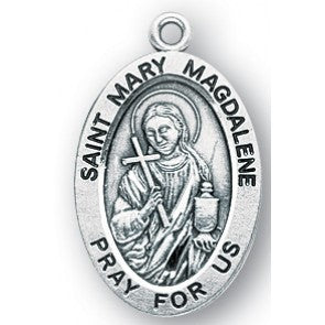 STERLING SILVER ST MARY MAGDALENE OVAL PENDANT - S946318C - Catholic Book & Gift Store