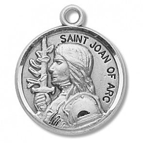 "STERLING ST JOAN OF ARC/ROUND/18"" CHAIN - S974618C - Catholic Book & Gift Store"