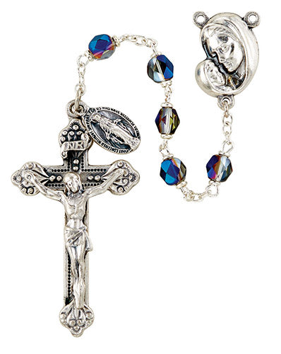 6MM MOTHER'S EMBRACE ROSARY/SAPPHIRE - SO6ABSP18D - Catholic Book & Gift Store