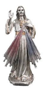 "12""H PEWTER STYLE DIVINE MERCY FIGURE W/GOLD TRIM"