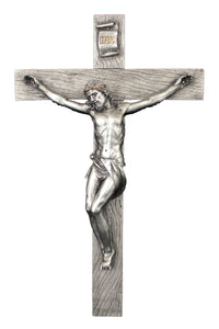 "17"" PEWTER STYLE CRUCIFIX W/GOLD TRIM - SR-75228-PE - Catholic Book & Gift Store"