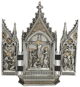 "8"" CALVARY TRIPTYCH, PEWTER STYLE FINISH - SR-76234-PE"